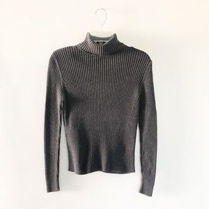 Vintage | Ribbed Dark Gray Sweater Top Turtleneck